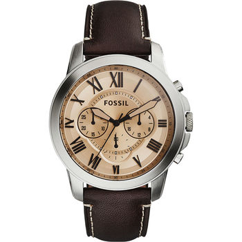 FOSSIL Grant 旗艦三眼計時腕錶-香檳金x咖啡/44mm FS5152