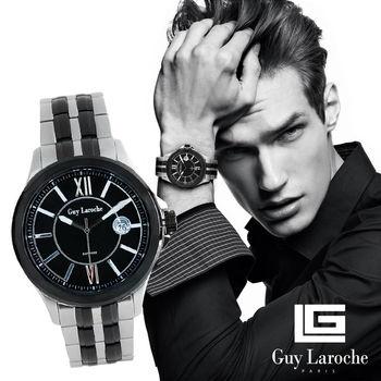 【Guy Laroche姬龍雪】法國全球限量不鏽鋼羅馬數字圓盤腕錶-黑