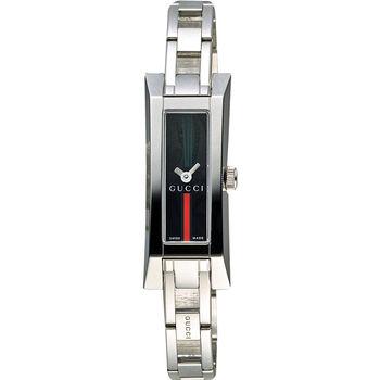 GUCCI G-Link系列 古馳名媛風采時尚女錶-黑x銀/14mm YA110512
