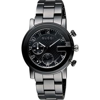 GUCCI G-Chrono 頂尖時尚陶瓷計時碼錶-黑/37mm YA101352