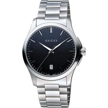 GUCCI G-Timeless 菱格紋腕錶-黑x銀/38mm YA126457
