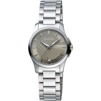 GUCCI G-Timeless 菱格紋女錶-棕x銀/27mm YA126526