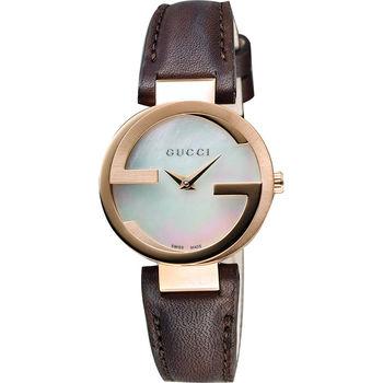 GUCCI Interlocking-G 時尚女錶-珍珠貝x咖啡/29mm YA133516