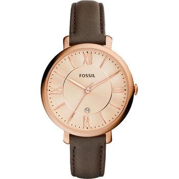 FOSSIL Jacqueline 羅馬風采時尚腕錶-玫瑰金x咖啡/36mm ES3707