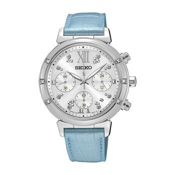 【SEIKO精工】LUKIA徜徉星沙 三眼計時知性鱷魚皮革腕錶(V175-0DF0B/SSC856J1)