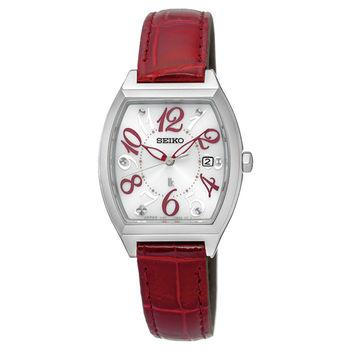 【SEIKO精工】LUKIA 繽紛優雅酒桶型皮帶女腕錶-白x紅(V137-0CE0R/SUT289J1)