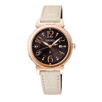 【SEIKO】LUKIA 恬靜知性 太陽能時尚腕錶-咖啡(V137-0BF0D/SUT188J1)