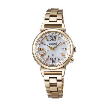 【SEIKO 精工】LUKIA系列 限量款施華洛世奇水晶太陽能電波女用腕錶(金1B25-0AN0K/SSVV026J)