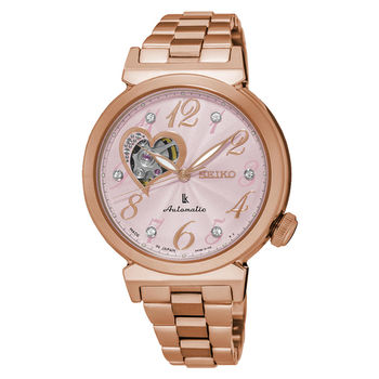 【SEIKO精工】LUKIA 閃耀之心寶石鋼帶女腕錶-玫瑰粉金(4R38-01C0K/SSA844J1)