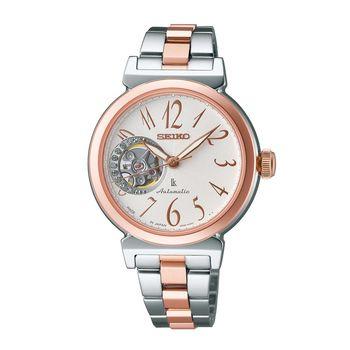 【SEIKO】林依晨LUKIA 甜心鏤空晶鑽時尚機械腕錶-銀/雙色版(4R38-00N0KS)