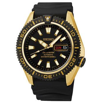 SEIKO Mechanical 海神波塞頓兩百米潛水機械腕錶(黑x金/42mm) 4R36-02Z0K