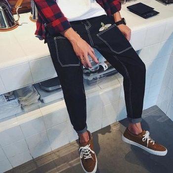 【協貿國際】小蜜蜂刺繡牛仔褲男士韓版修身小腳長褲單件