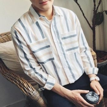 【協貿國際】經典百搭豎條紋長袖襯衫男士韓版休閒單件