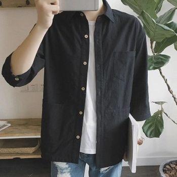 【協貿國際】簡約百搭純色襯衫男韓版多口袋裝飾寬鬆型單件