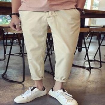 【協貿國際】日系百搭純色休閒褲男士寬鬆版單件