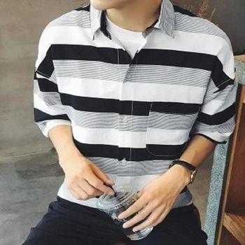 【協貿國際】條紋襯衫男士短袖韓版修身半袖潮男襯衣單件