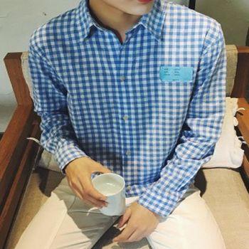 【協貿國際】細格子襯衫男韓版青年秋裝修身長袖襯衣單件