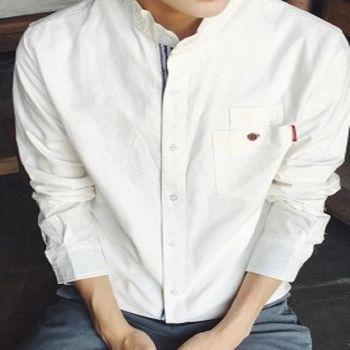 【協貿國際】男士織帶裝飾長袖襯衫韓版純色百搭修身立領單件
