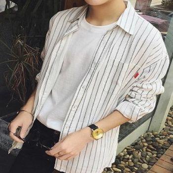 【協貿國際】豎條紋長袖襯衫韓版男士中長款防曬上衣單件