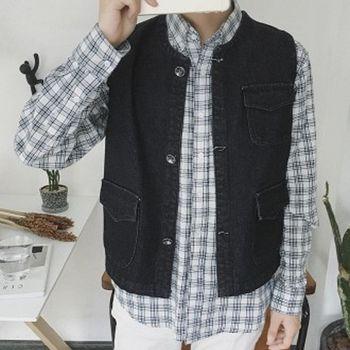【協貿國際】牛仔馬甲男士韓版青少年修身潮流背心外套男單件