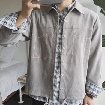 【協貿國際】燈芯絨純色寬鬆夾克復古假口袋長袖外套單件