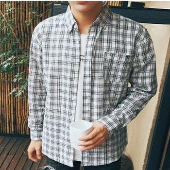 【協貿國際】時尚格子襯衣男士韓版休閒長袖襯衫單件