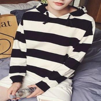 【協貿國際】條紋修身連帽套頭衫外套男韓版單件