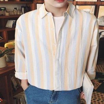 【協貿國際】韓版豎條紋長袖襯衣男單件