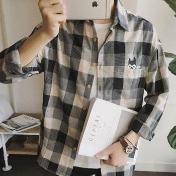 【協貿國際】卡通小狗繡花襯衫男士寬鬆型格子長袖襯衣單件
