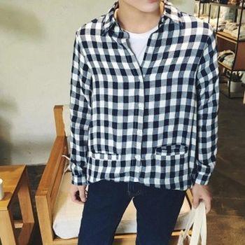 【協貿國際】小格子長袖襯衫男韓版寬鬆單件
