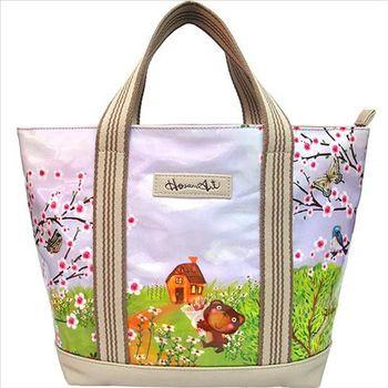 【摩達客】香港設計品牌手繪童話插畫風HosannArt賞花熊托特包單肩包側背包
