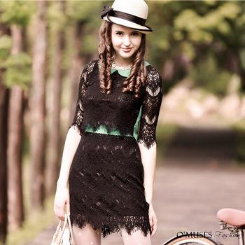 【OMUSES】蕾絲上衣+裙子套裝35-6240(S-L)