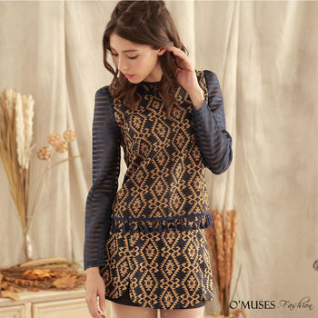【OMUSES】巴洛克式圖騰上衣+褲裙兩件式套裝 35-7456(S-L)