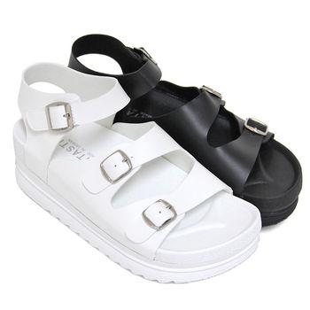 【Pretty】個性經典沾黏式厚底涼鞋-白色、黑色