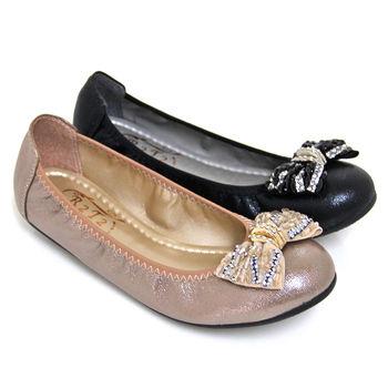 【Pretty】璀璨鑽飾串珠拼接朵結平底鞋-金色、黑色