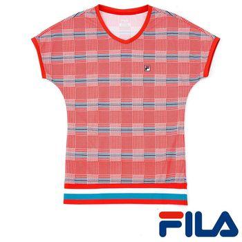 FILA女性格紋風抗UV上衣(亮采橘)5TEP-5007-OR 3M吸濕排汗助劑