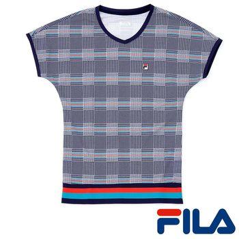 FILA女性格紋風抗UV上衣(學院藍)5TEP-5007-DB  3M吸濕排汗助劑