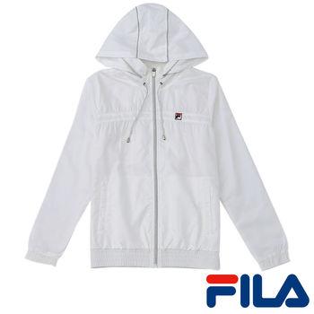 FILA女性連帽抗UV風衣外套(純淨白)5JKP-5010-WT  High-Q抗UV助劑
