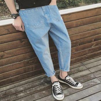 【協貿國際】男士簡潔純色牛仔褲日系復古水洗牛仔單件