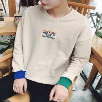 【協貿國際】學院風圓領套頭衫男士韓版撞色寬鬆型長袖單件