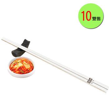 PUSH!餐具用品304不銹鋼韓式扁筷子金屬筷子衛生安全筷10雙E70