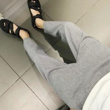 【協貿國際】復古豎條韓版清新簡約條紋修身男士休閒褲單件