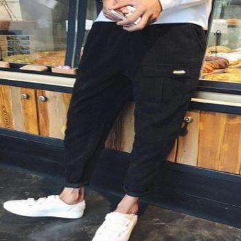 【協貿國際】復古燈芯絨休閒褲寬鬆型哈倫小腳褲男長褲單件