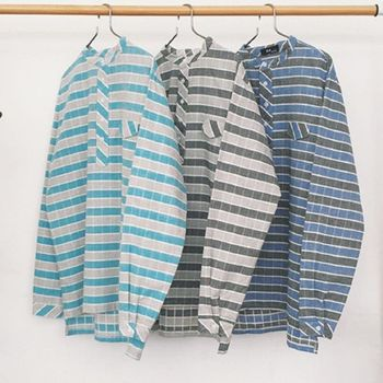 【協貿國際】條紋撞色襯衫男韓版寬鬆長袖襯衣單件