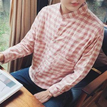 【協貿國際】男士寬鬆版長袖襯衣字母刺繡立領格子襯衫單件