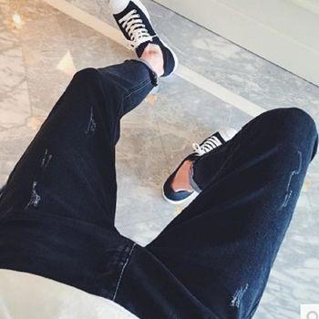 【協貿國際】刮爛設計水洗小腳褲潮男牛仔褲單件
