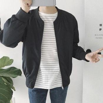 【協貿國際】純色棒球服韓版時尚休閒長袖外套男士潮流夾克衫單件
