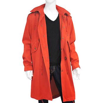 BURBERRY 橘紅色單排釦紳士長版外套-L號