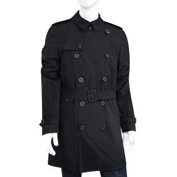 BURBERRY 黑色雙排釦綁腰紳士長版風衣外套-US40號