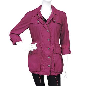 BURBERRY 紫紅色連帽風衣外套-US 6號